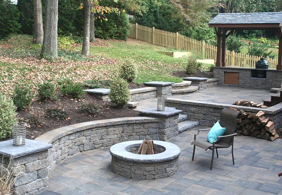 Stone patio - Fire Pit - Retaining Walls