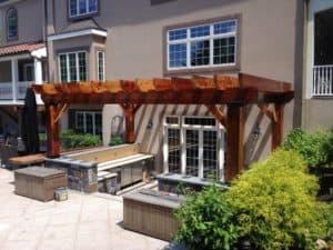 Outdoor Kitchen Masonry Work - Custom Wood Pergola - Scarsdale, NY
