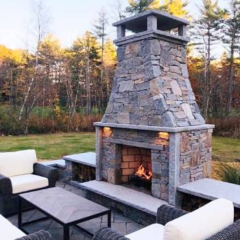 Custom Stone Outdoor Fireplace