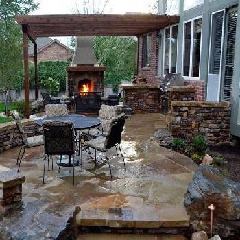 Stone Patio, Fireplace, Pergola & Grilling Station