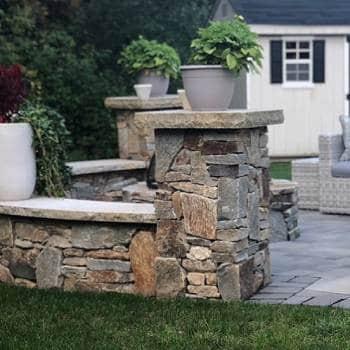 Stone Pillars-Columns & Seating Wall