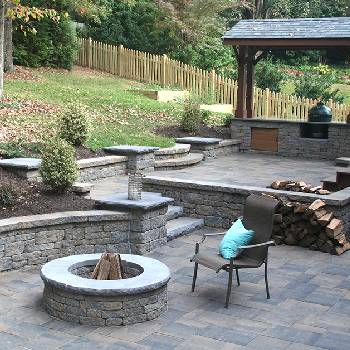 Wood Burning Fire-Pit, Patio & Retaining Walls with Landscaping